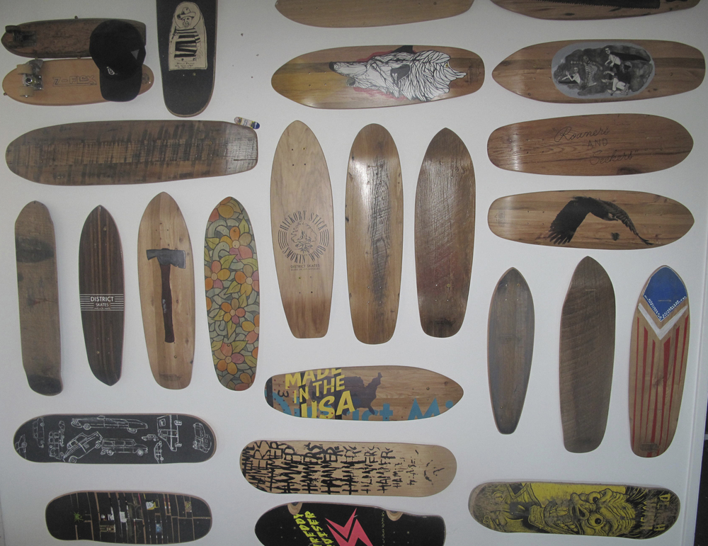 Some District Mills Skate boards on display.