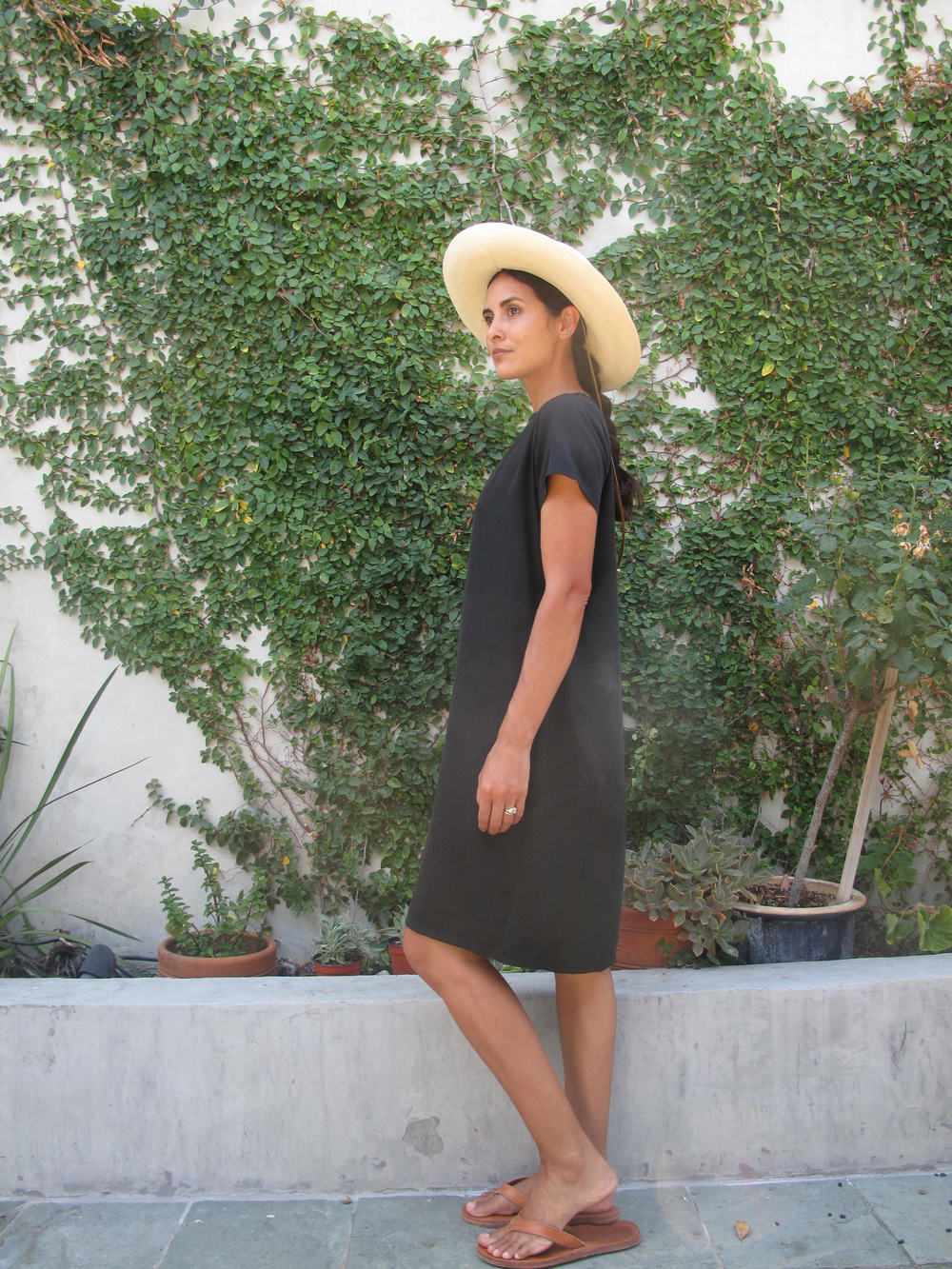 Beach/summer casual   One of the things I love about this dress is its ease, so for my first outfit I kept it really simple. This look is perfect for the beach, farmers market, or just about anything else on a warm day when you require comfort and functionality. Ethically made Panama hat picked up from  Magpi  shop in Studio City, shop USA made versions from  Clyde  and  Janessa Leone . Leather flip flops by  Moment Goods , hand made in the USA.