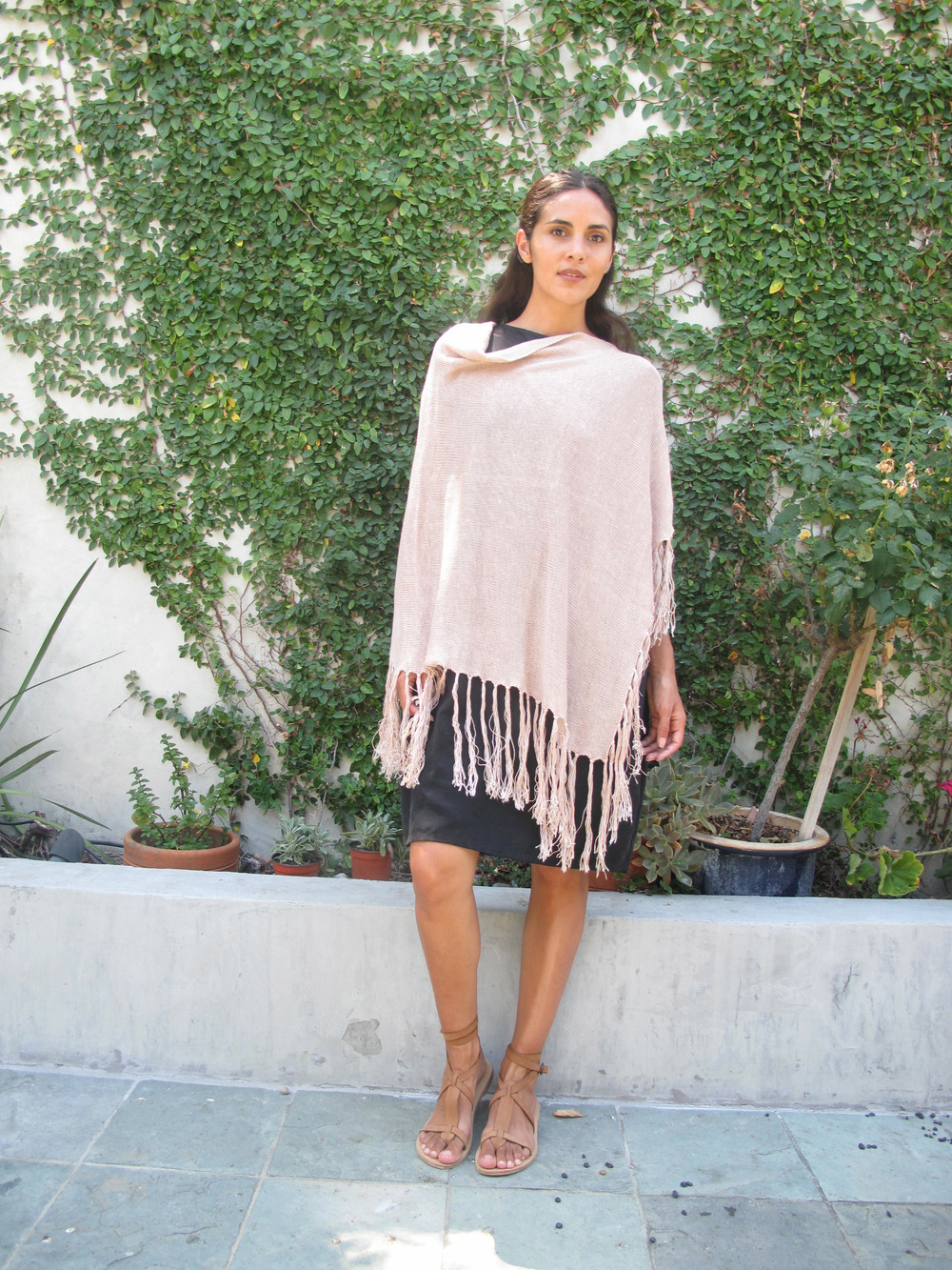mellow evening   Cozy dinner, evening stroll or watching the sun set from the Santa Monica Mountains. Find similar ponchos on  eBay  or  Etsy . Sandals are by Valia Gabriel, handmade in Greece, also picked up from  Magpi . For a USA made option try  Pam Left Pam Right .
