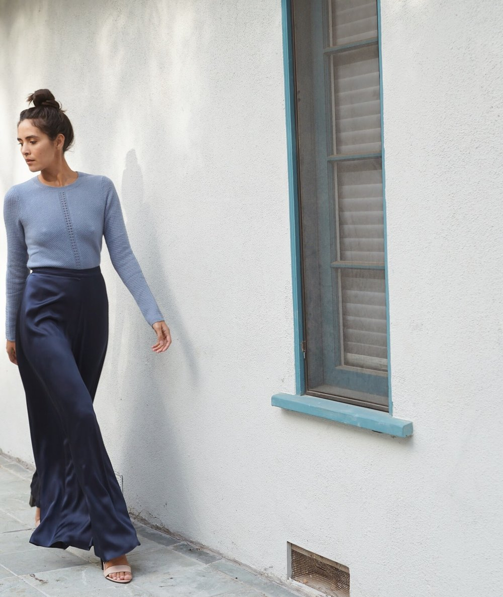 Maiyet  Crewneck Sweater in Light Blue +  Voz  Palazzo pant in Navy.