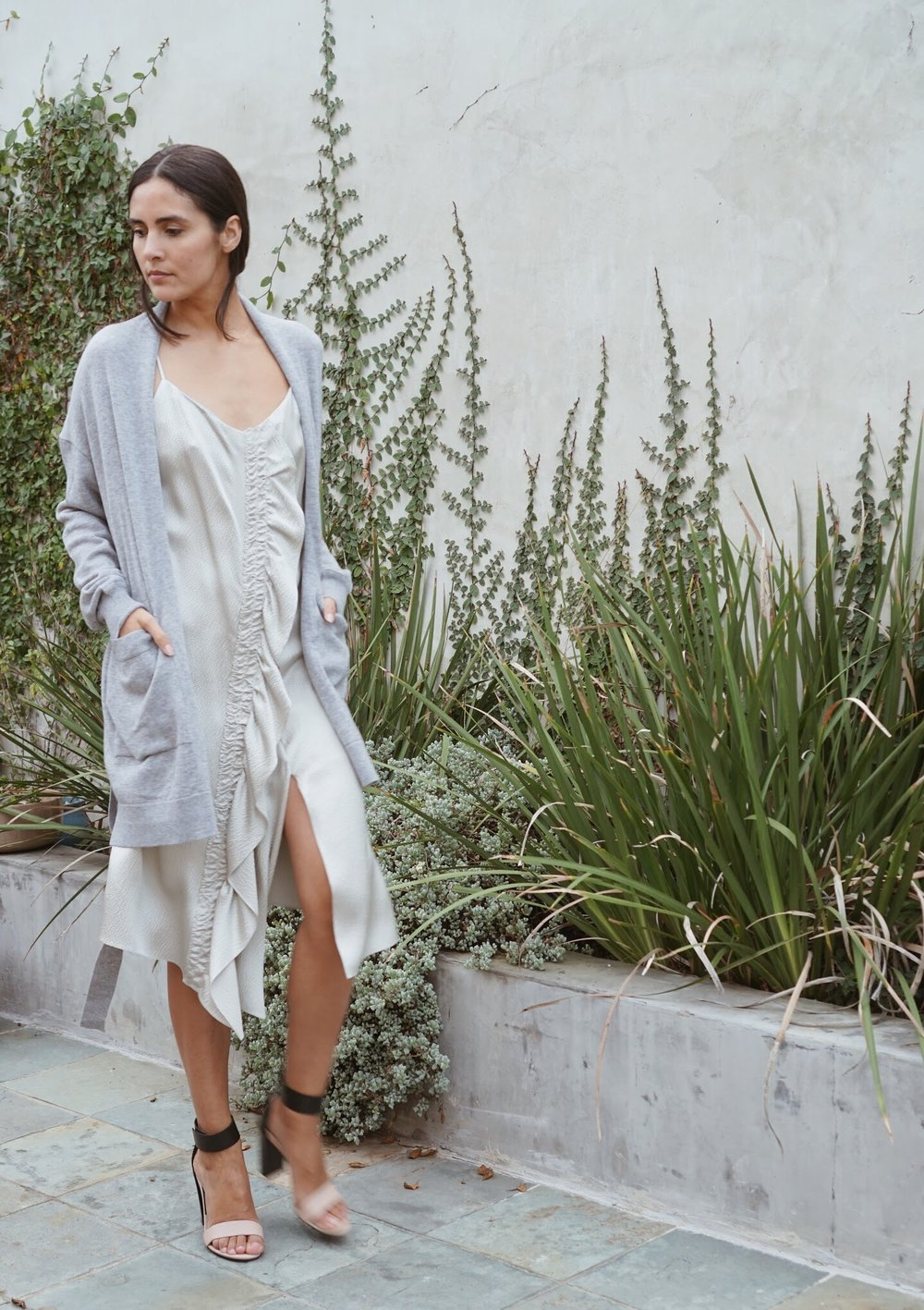 Maiyet  Asymmetric Midi Slip Dress in Silver +  Maiyet  Wrap Cardigan in Grey.