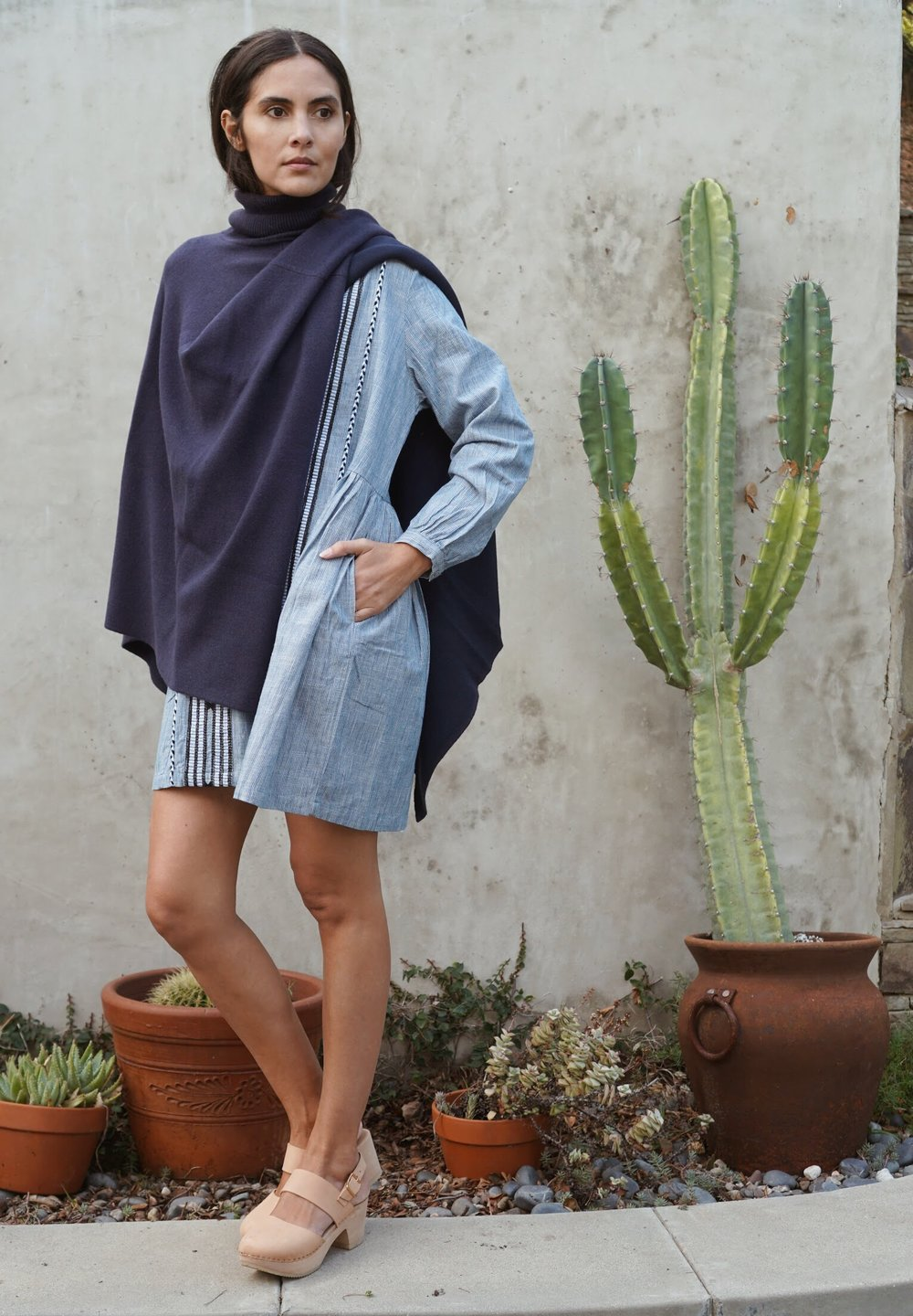 Kopal  Riya Dress in Indigo Stripe +  Maiyet  Double Knit Cape in Navy +   Zuzii   Closed Toe Clogs in Natural.