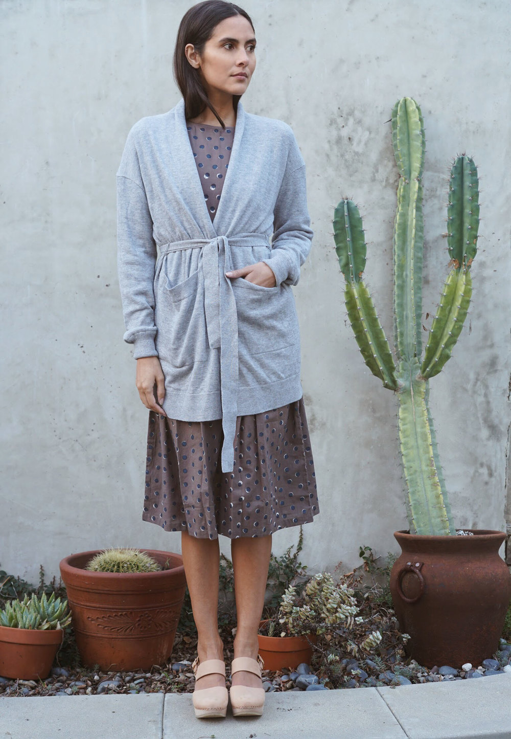 Kopal  Kuku Dress in Block Polka +  Maiyet  Wrap Cardigan in Grey +   Zuzii   Closed Toe Clogs in Natural.