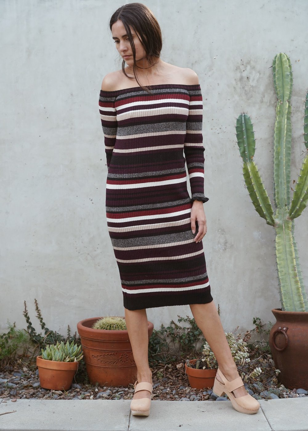 Eleven Six  Off Shoulder Sweater Dress in Multi +   Zuzii   Closed Toe Clogs in Natural.