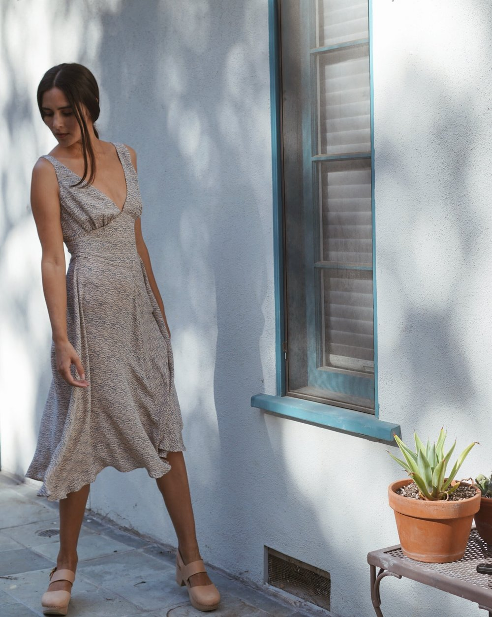 Olga Kapustina  Silk Georgette Slip dress in Print +   Zuzii   Closed Toe Clogs in Natural.