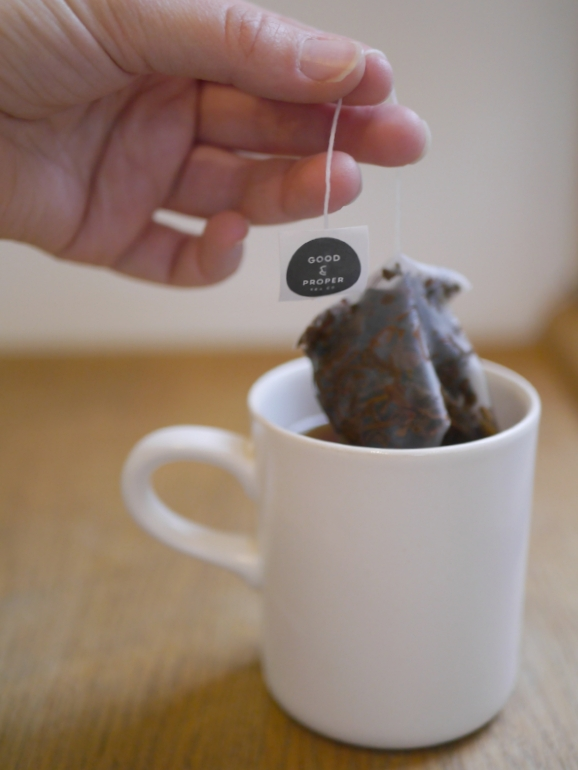 Good & Proper tea bag in cup