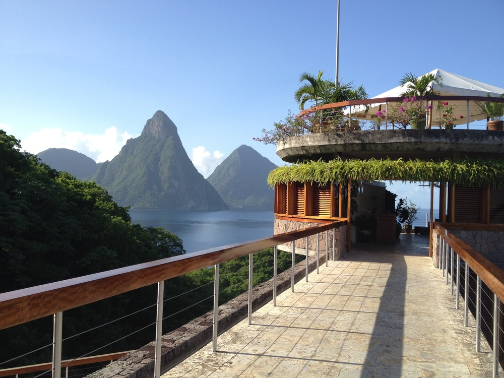 Walkway to the Jade Mountain Club at Jade Mountain Resort in Saint Lucia.