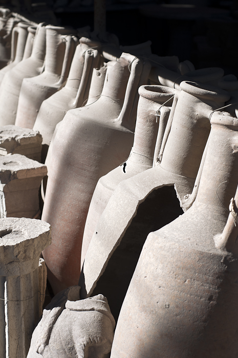Urns excavated at the Pompeii ruins