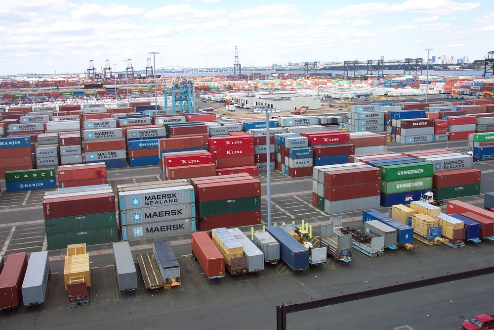 Shipping Containers at the terminal at Port Elizabeth, New Jersey. Public Domain Image.