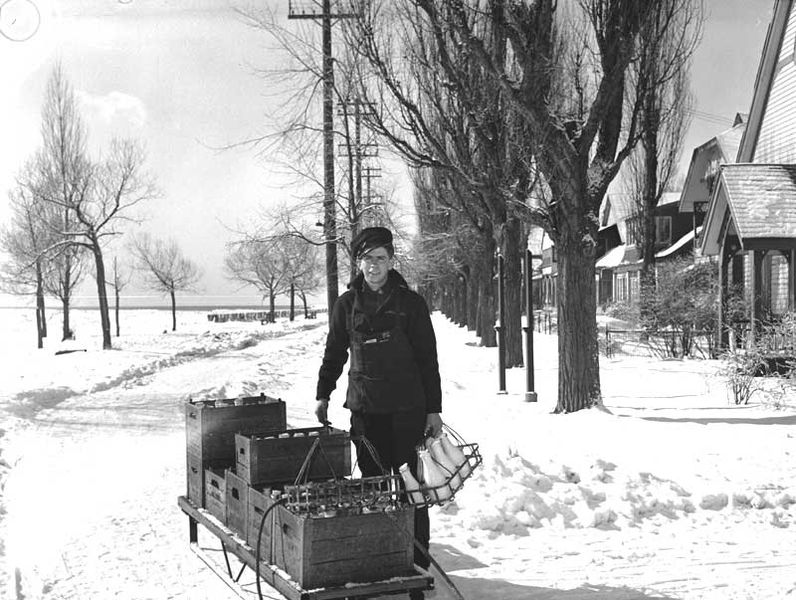 Milkman in Toronto Canada, 1944. Public Domain image.