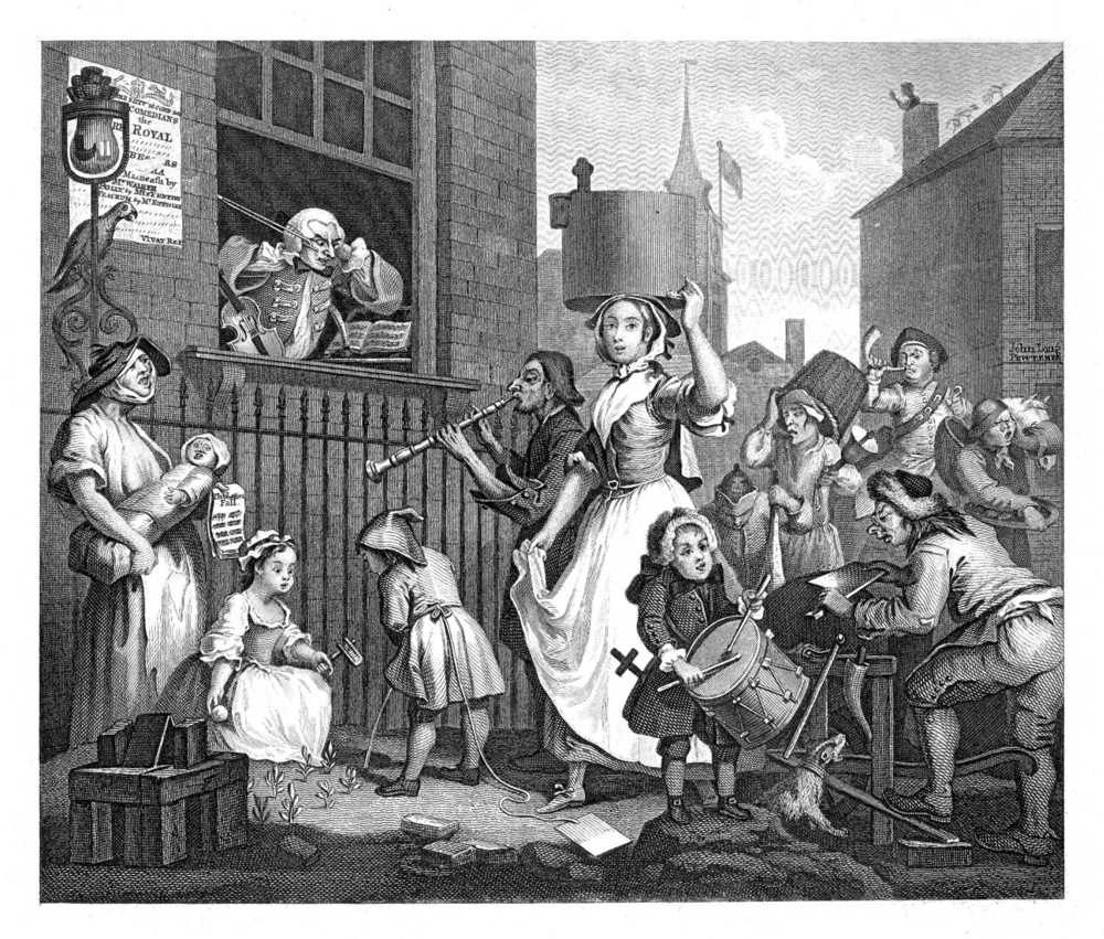 """Enraged musician"" by William Hogarth, depicting a milkmaid. Public Domain image."