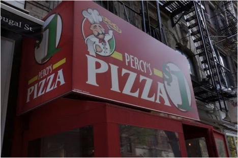 Percy's Pizza, offering dollar slices by NYU.
