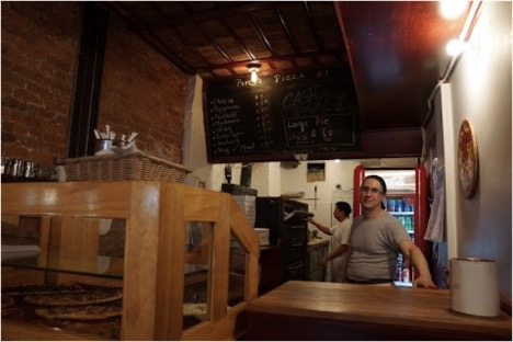 Inside Percy's Pizza on Bleeker St.