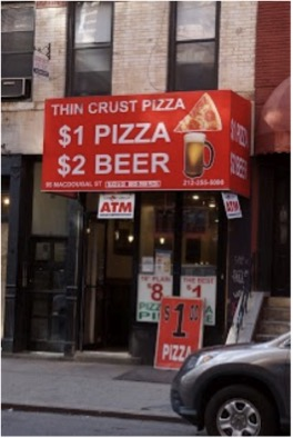 Thin Crust Pizza, another dollar slice joint down the street from Percy's offers both pizza and beer.
