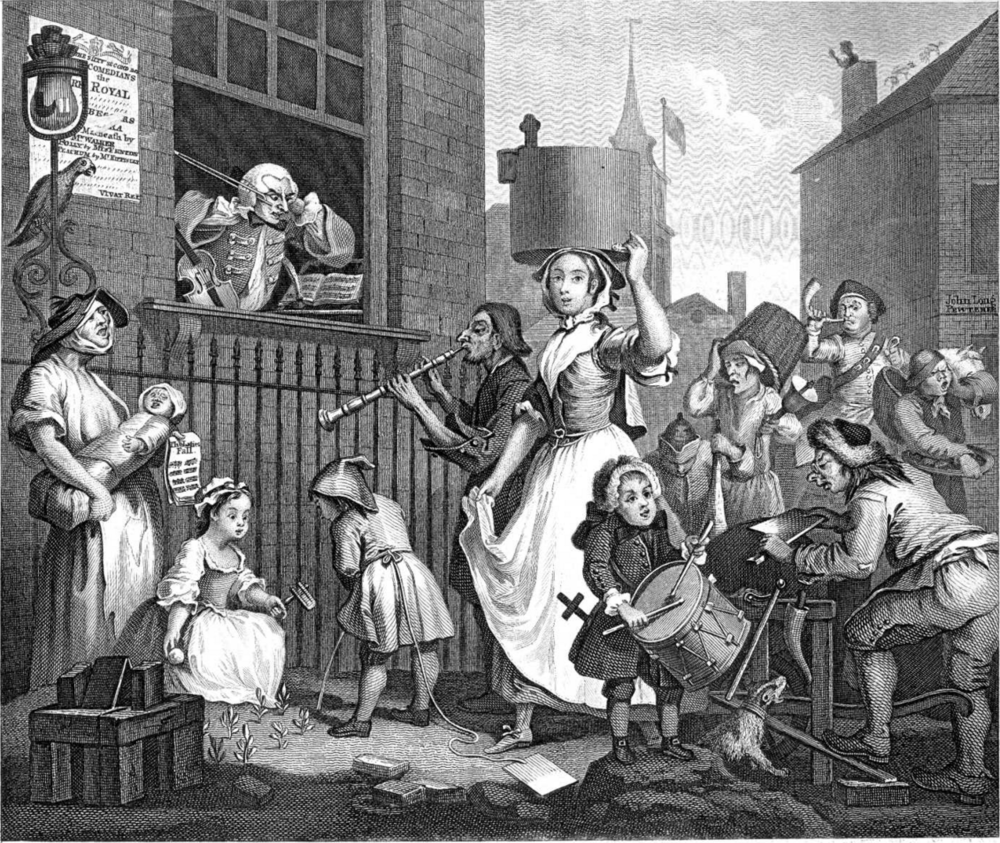 """Enraged musician"" by William Hogarth, depicting a milkmaid. Public Domain image"