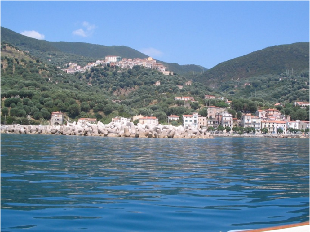 View from sea: the town of Pisciotta above, with Marina di Pisciotta below.