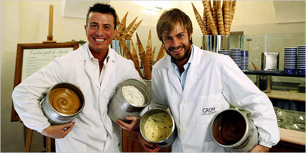 Grom founders Federico Grom (left) and Guido Martinetti launched their first store in 2003 with a model that allowed them to control their gelato product but expand exponentially. They just sold their company to Unilever for an undisclosed sum. Photo: The New York Times