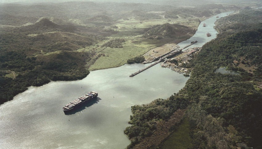 The Pedro Miguel locks, near the southern (Pacific) side of the canal, are the last stop for ships before entering the Culebra Cut and Gatun Lake, left, which will rise two feet with the expansion. Photo: Tom Nagy