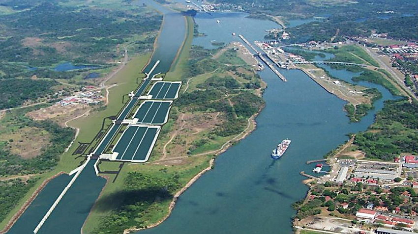 A wider channel and second set of locks that can accommodate post-Panamax ships now run parallel to the existing Panama Canal. These are the Miraflores locks, the closest to the Pacific. Photo: Mike Kelley