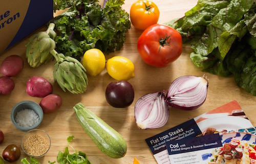 Blue Apron's meal kits are among many options for home-delivered dinners. Image: Blue Apron
