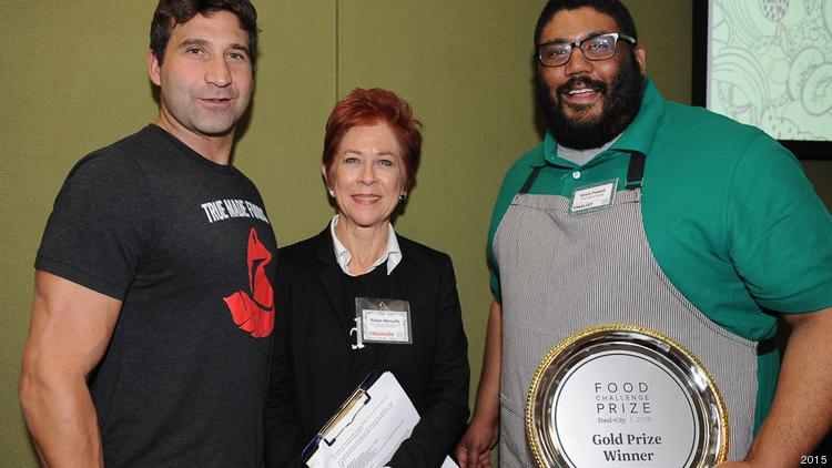 Food+City Challenge Prize 2016 winners True Made Foods, founded by Abe Kamarck (left) and Kevin Powell (right) celebrate their win last February with our own Robyn Metcalfe. The founders, both military vets, were recently featured in Forbes.
