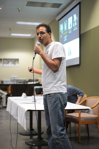 Real Food Solutions founder Neheet Trivedi makes his pitch during the 2016 Food+City Challenge Prize. Photo by Jessica Alexander