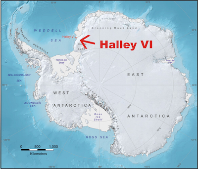 Halley VI is located on the Brunt Ice Shelf, a mass of ice floating on the Weddell Sea in Antarctica.
