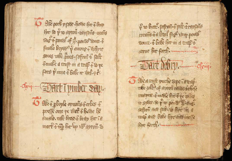 The Forme of Cury, one of the earliest known written cookbooks, compiled by a master cook in the court of the English king Richard II.PHOTO: ©THE UNIVERSITY OF MANCHESTER