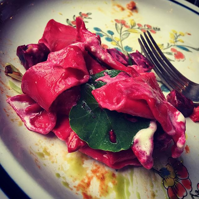 Pappardelle, goat cheese, beets, Marcona almonds..