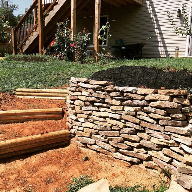 Finished terracing the steps for my backyard project today almost a year after I started. Man, I moved a lot of dirt one shovel at a time! Tomorrow some plants go in…