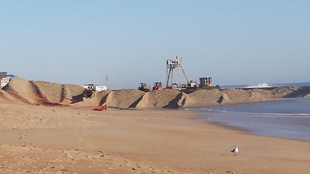 Beach renourishment project in Kitty Hawk, NC