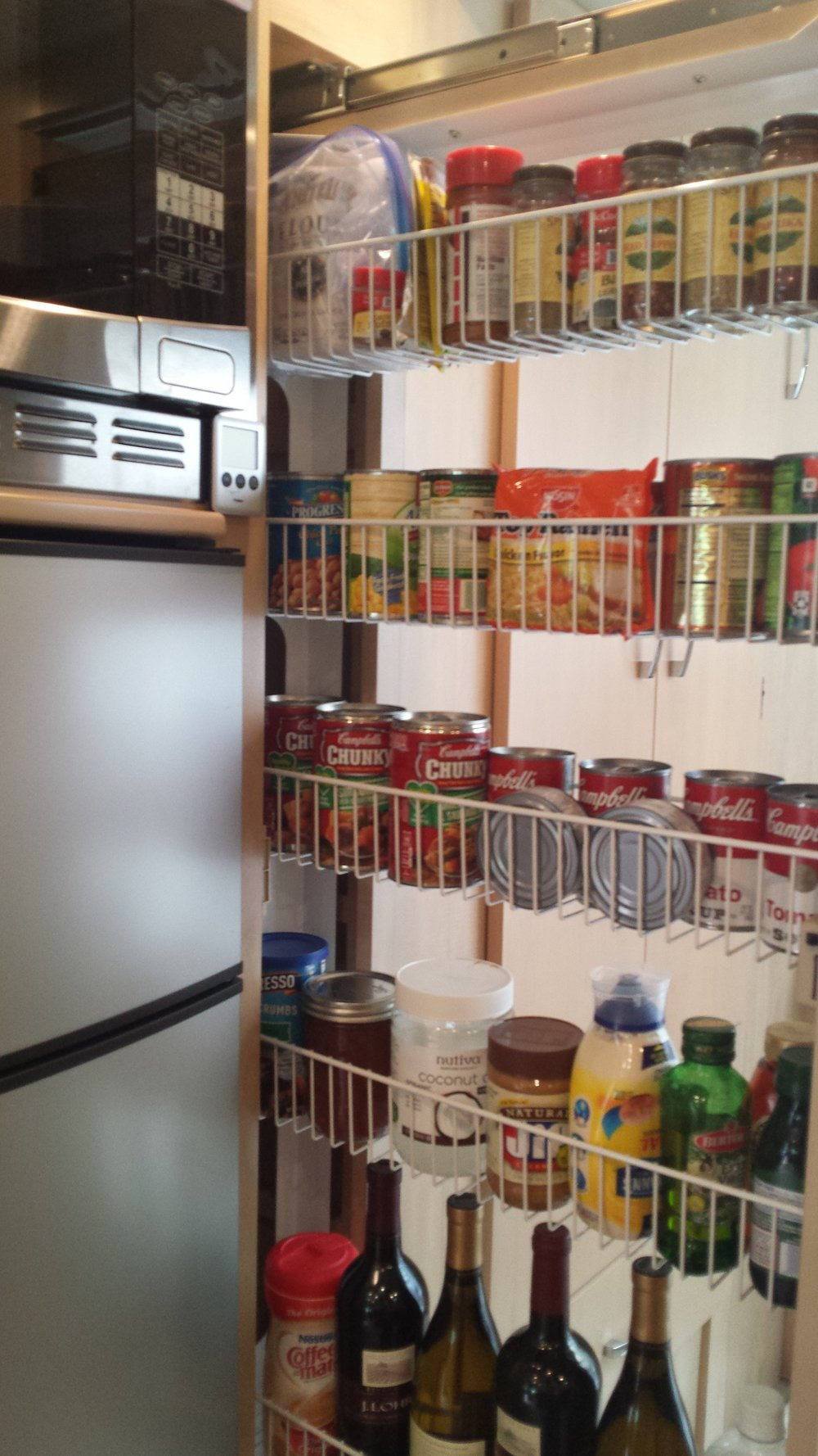 A slideout pantry is a great storage area in a small RV