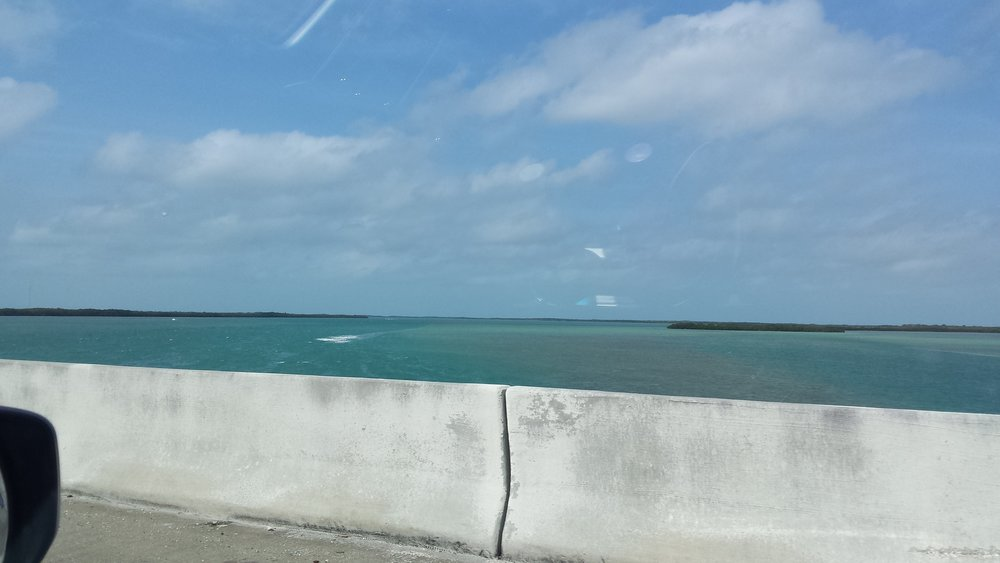 View from the Seven-mile bridge crossing the keys