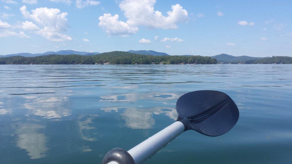Kayaking on beautiful Lake Blue Ridge, Georgia