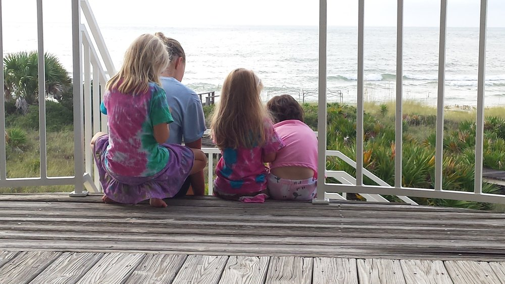 Early morning at the beach house, the girls still in their pjs!