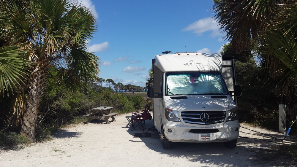 Beach-side campsite at T.H. Stone Memorial St. Joseph Peninsula State Par k