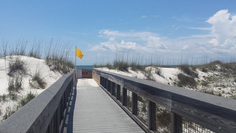 The state park campsite dune walkover at Cape San Blas