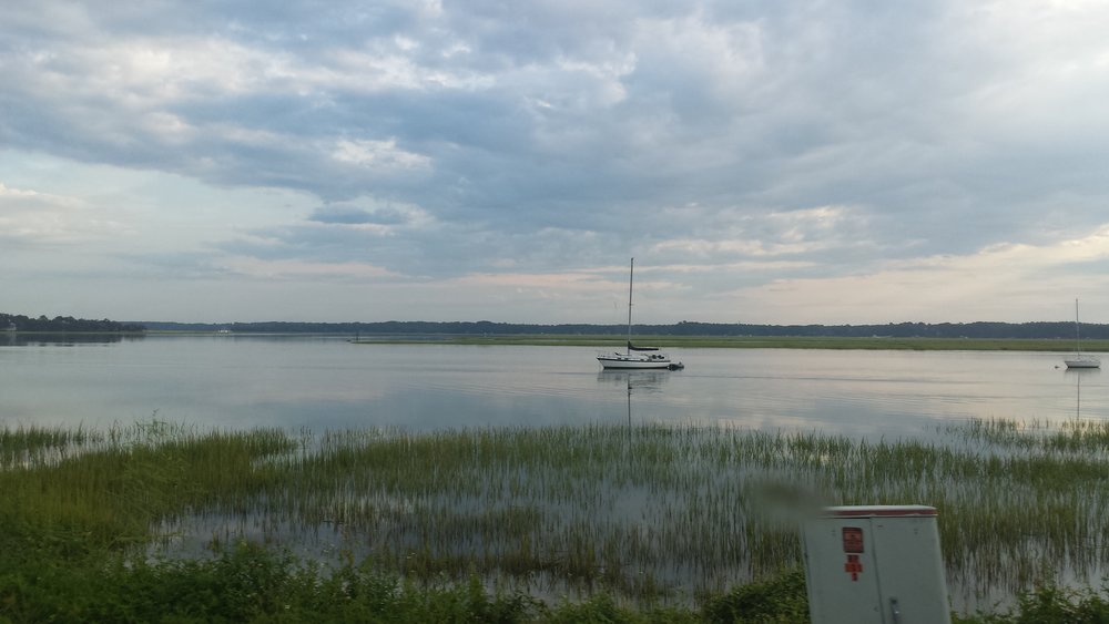 Quiet bay and sailboat near Beaufort, SC