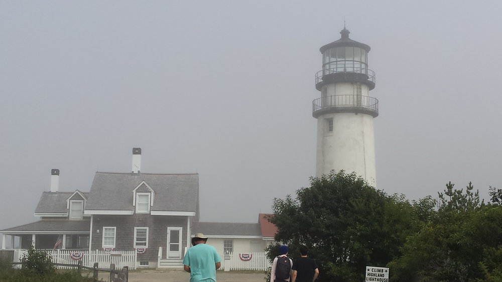 Fog shrouds the Highland Light on Cape Cod