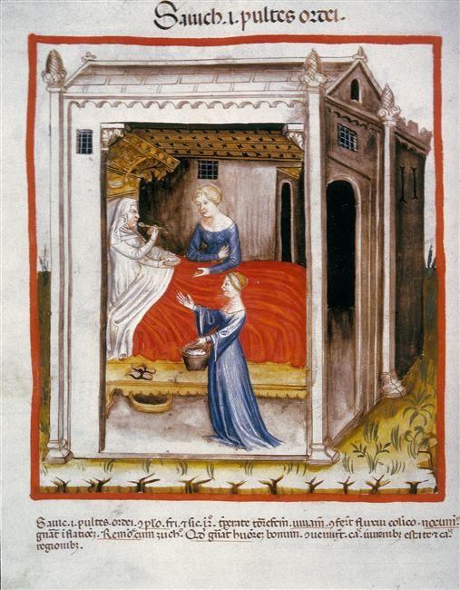 """Giving Barley Soup to an Invalid"" Tacuinum Sanitatis , SN2644, folio 44v; 1385–1390."
