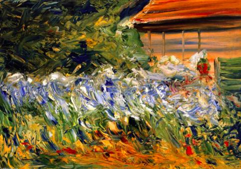 Max Liebermann, Blumen bei des Gärtners Haus, 1928   http://de.wahooart.com/@@/8XXCQG-Max-Liebermann-Blumen-bei-dem-Gardener's-Haus