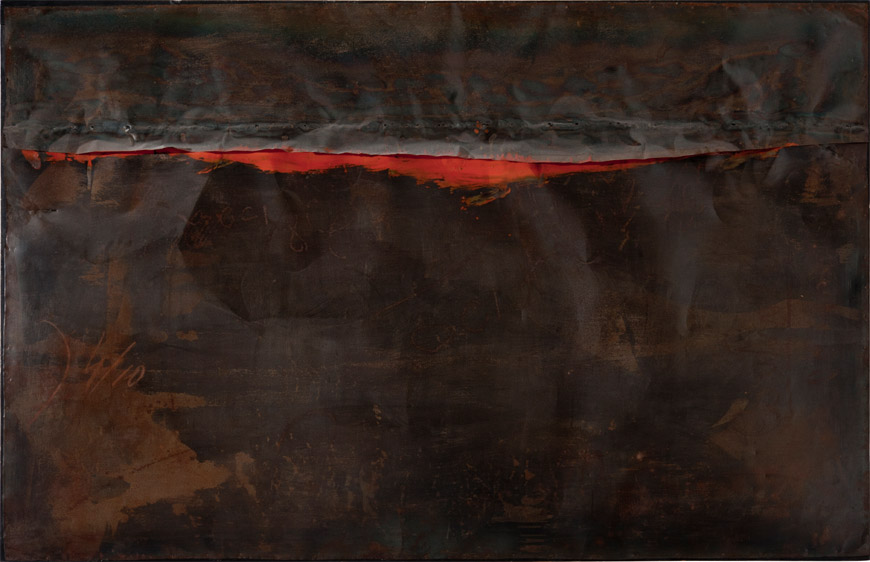Alberto Burri,  Ferro SP,  1961, welded iron sheet metal, oil, and tacks on wood framework, 130 x 200cm, Galleria nazionale d'arte moderna e contemporanea, Rome.   https://www.inexhibit.com/marker/nyc-alberto-burri-major-retrospective-guggenheim-museum/