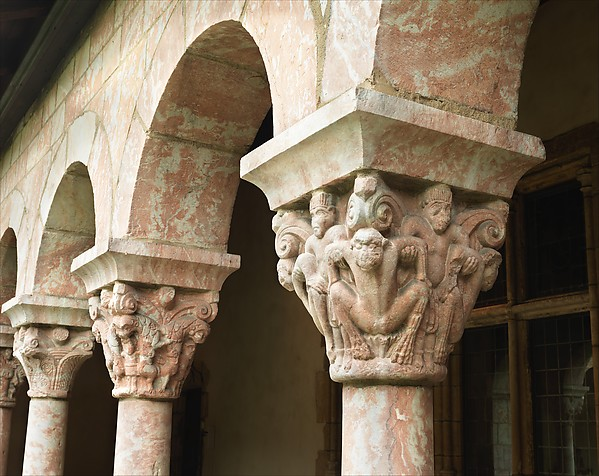 Cloister capital from St-Michel-de-Cuxa. The Metropolitan Museum of Art. The Cloisters Collection  http://www.metmuseum.org/art/collection/search/470811?sortBy=Relevance&ft=Cloister+capital+from+St-Michel-de-Cuxa&offset=0&rpp=20&pos=3