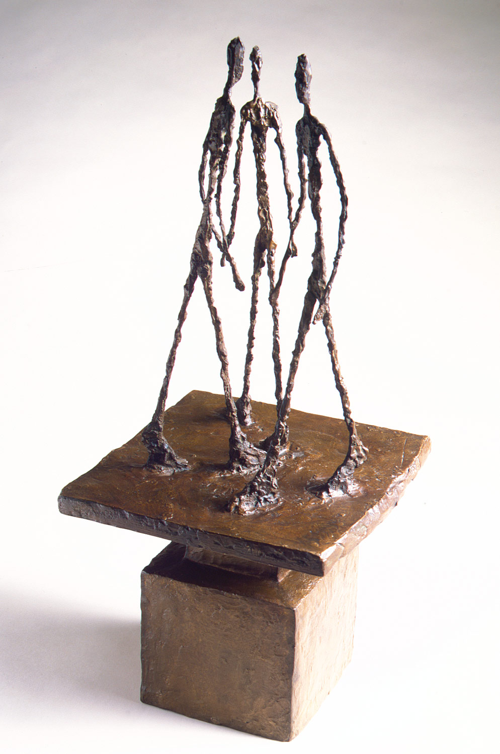 Alberto Giacometti,  Three Men Walking II,  1949, bronze, 30 1/8 x 13 x 12 3/4 in.  https://www.metmuseum.org/toah/works-of-art/1999.363.22/