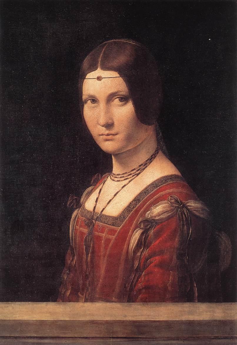 Leonardo da Vinci, La Belle Ferronnier, 1490-1496  https://www.leonardodavinci.net/la-belle-ferronniere.jsp