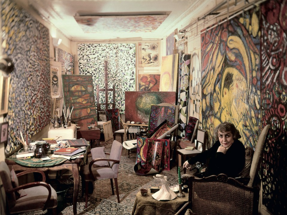 Zeid in her studio in Paris, c. 1960. Raad Zeid Al-Hussein Collection.  http://www.tate.org.uk/art/artists/fahrelnissa-zeid-22764/tate-etc/fahrelnissa-zeid-the-painter-princess