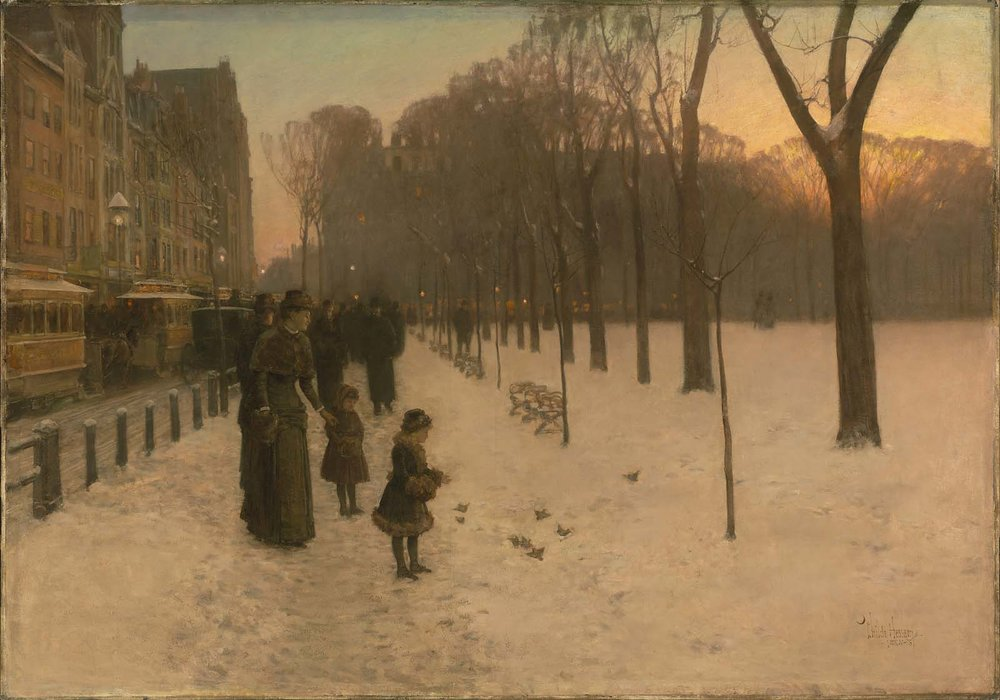 Childe Hassam,  At Dusk,  1885-86, oil on Canvas, 106.68 x 152.4 cm (42 x 60 in.), Museum of Fine Arts, Boston.  http://www.mfa.org/collections/object/at-dusk-boston-common-at-twilight-32415