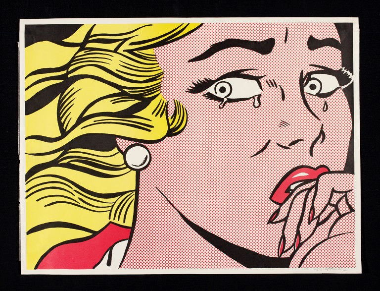 Roy Liechtenstein,  Crying Woman , 1963, colour offset lithograph, Victoria and Albert Museum, London.  https://collections.vam.ac.uk/item/O1035850/crying-woman-print-lichtenstein-roy/