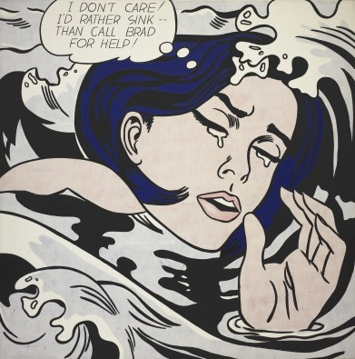 Roy Liechtenstein,  Drowning Girl , 1963, oil and polymer paint on canvas, 171.6 x 169.6 cm, Museum of Modern Art, New York.   https://www.moma.org/learn/moma_learning/lichtenstein-drowning-girl-1963