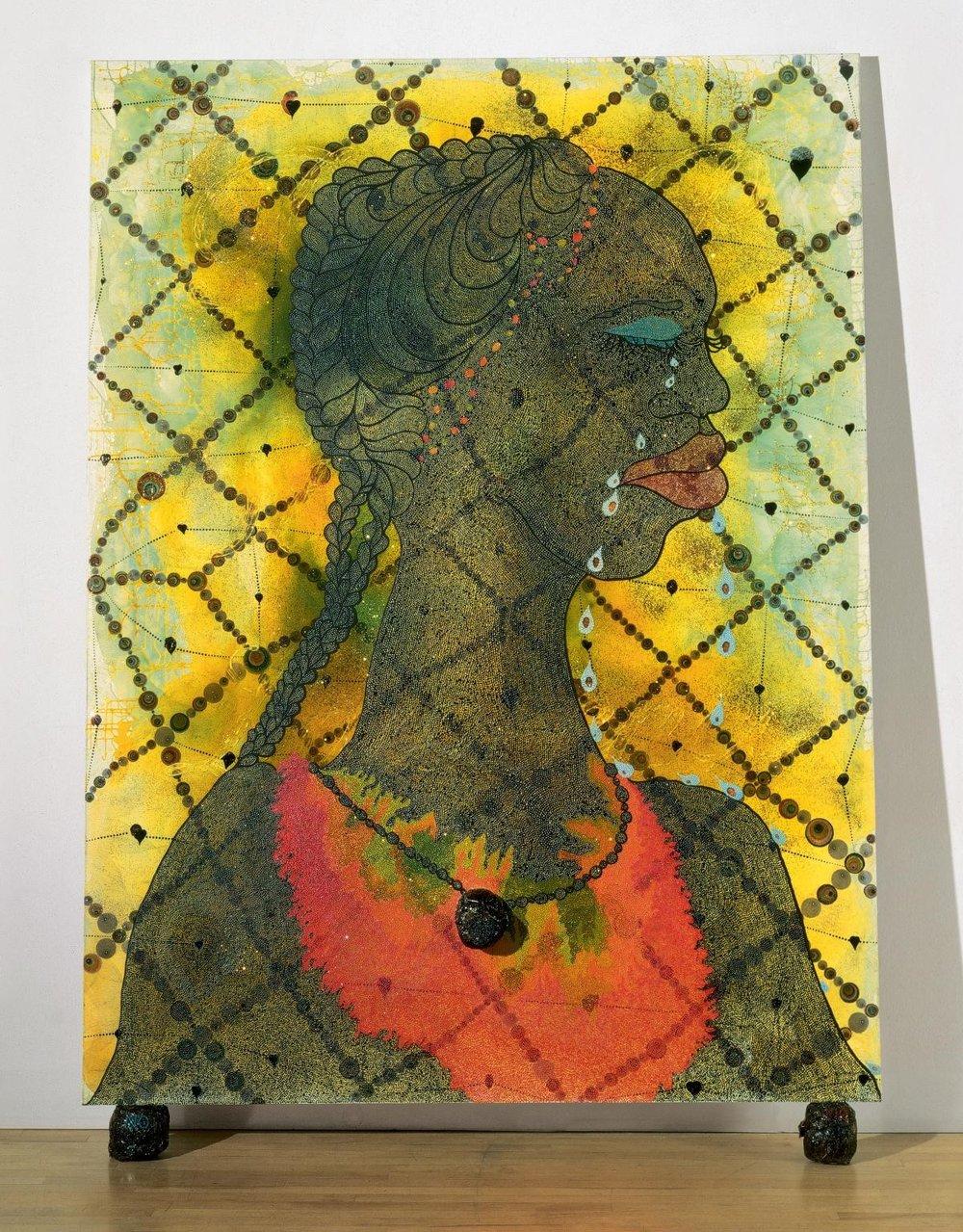 Chris Ofili,  No Woman No Cry , 1998, mixed media, 2438 x 1828 mm, Tate Britain, London.   http://www.tate.org.uk/art/artworks/ofili-no-woman-no-cry-t07502